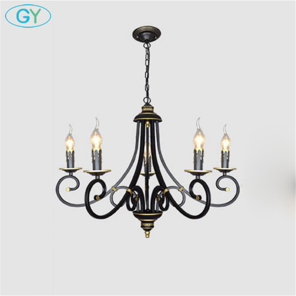 Wrought Iron Chandelier Light Industrial Vintage ...