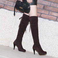 Big Size 34 47 Women Shoes Long Boots Round Toe Square High Thin Heels Hill Heels