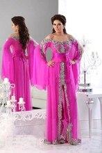 2017 muslimischen Abendkleider A-line Spaghetti-trägern Rosa Appliques Islamischen Dubai Abaya Kaftan Abendkleid Lang Abendkleid