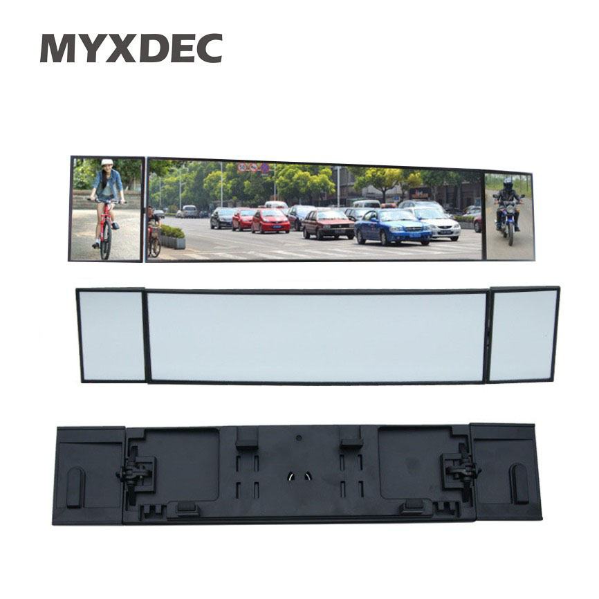Universal Car Rear View Mirror Wide Angle Panoramic Anti-dazzling Interior Rearview Mirror Large Vision 380mm Curved Mirror