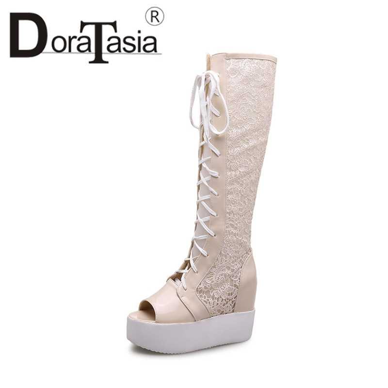 DoraTasia 2019 גודל 34-39 תחרה למעלה מותג נעלי אישה אופנה בוהן ציוץ פלטפורמת עקבים גבוהים קיץ מגפי אישה נעליים