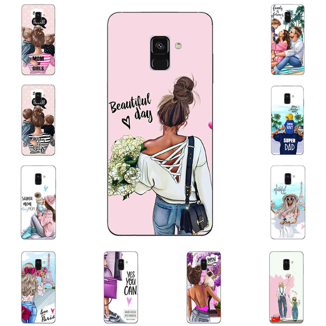 Fashion Black Brown Hair Baby Mom Girl Queen 01 soft Silicone Cover For Samsung Galaxy  A30 A50  A7 A8 2018 PLUS J6 J8 2018