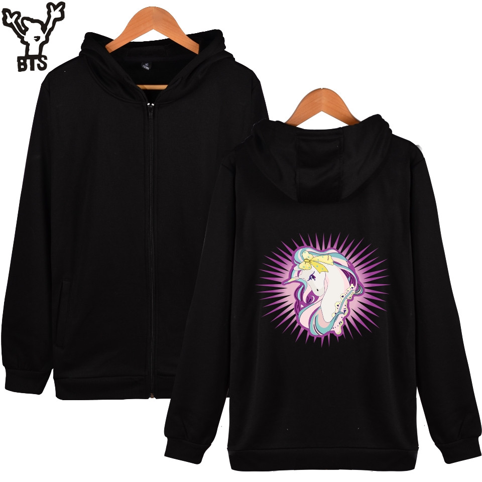 BTS Unicorn Women Hoodies Sweatshirts Zipper Oversized Hoodie Long Funny Kawaii Print Autumn Jacket Women Warm Black Outerwear