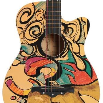 38 inch Folk Guitar Color Painted Graffiti Skull Basswood 6 String Guitarra Beginner Home-schooling Guitar Accessories AGT19