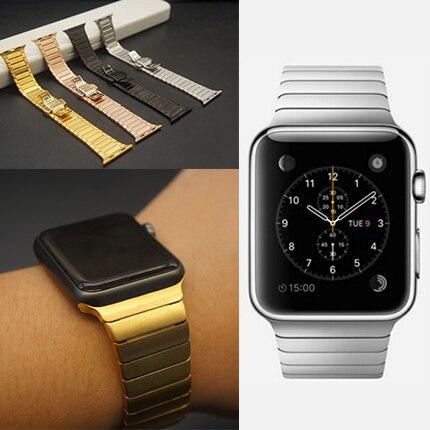 все цены на Luxury stainless Metal strap & Link Bracelet 316L Stainless Steel band for apple watch 42mm 38mm Watchband онлайн