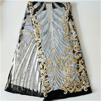 Nigeria Lace French Lace Fabric Super Hot Nigerian Silver Lace Fabric High Quality Embroidered Lace Fabric with Sequins