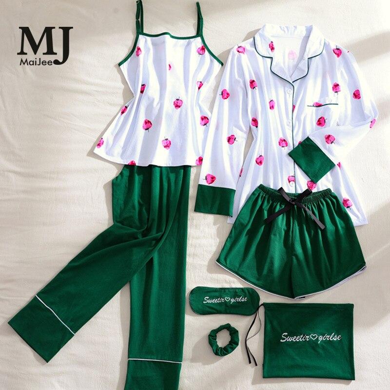 MJ055A 7 Pic Satin Night Suit Invierno Mujer Pajama Set Silk Pijama Mujer Pink Pijama Feminino Pigiama Donna Pajamas Pyama Woman