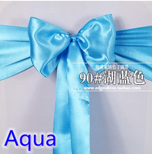 Aqua colour high quality satin sash chair bow for chair covers sash spandex party and wedding decoration wholesale(China)