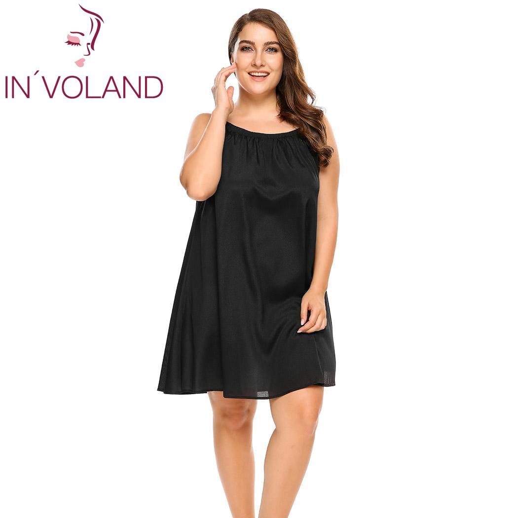 INVOLAND Plus Size Sleepwear Split Lace Satin Chemises Nightgown Solid Spaghetti Strap Home Dress Patchwork Nightwear L-4XL