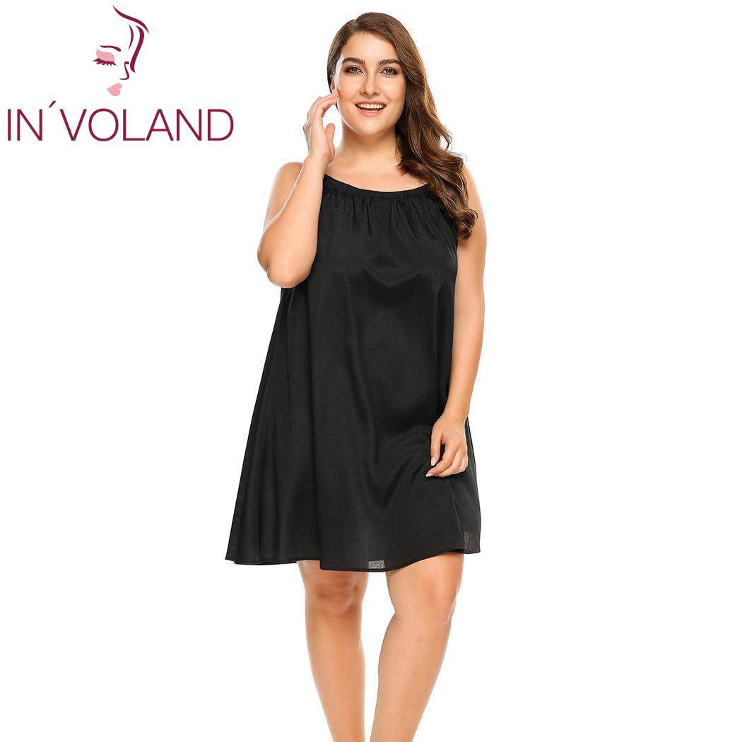 IN VOLAND Plus Size Sleepwear Split Lace Satin Chemises Nightgown Solid  Spaghetti Strap Home Dress 7cee15c328cd