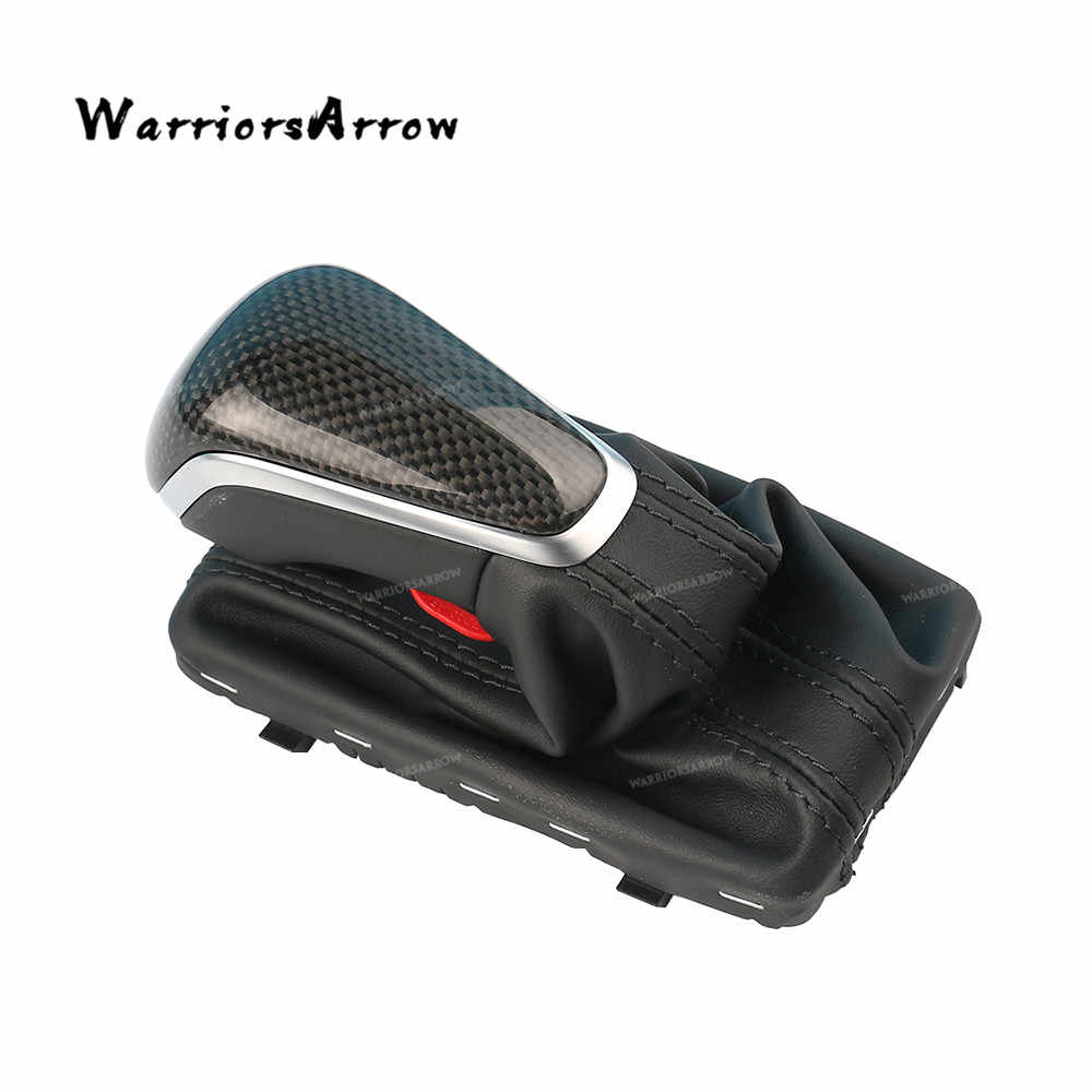 WarriorsArrow Carbon Fiber Cover Automatic Gear Shift Knob Handle Leather For Audi A6 2016 2017 2018 4GD713139B