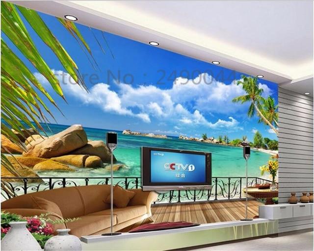 Beibehang Custom 3d Hd Wallpaper Beach Balcony Landscape Tv