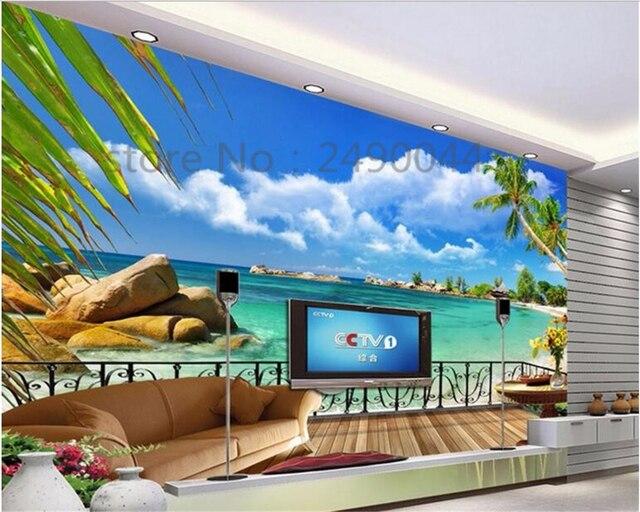 Beibehang Nach 3D HD Tapete Strand Balkon Landschaft TV Hintergrund ...