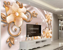 beibehang Custom Pearlescent Jewelry Magnolia Lily Flower Butterfly Love Open 3D Background Wall Decoration Mural Wallpaper