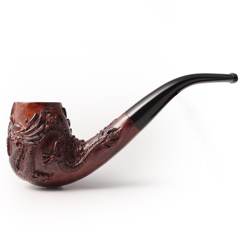 2020 nova adous mão esculpida dragão e phoenix china briar vento tabaco tubos de fumo 9mm - 3