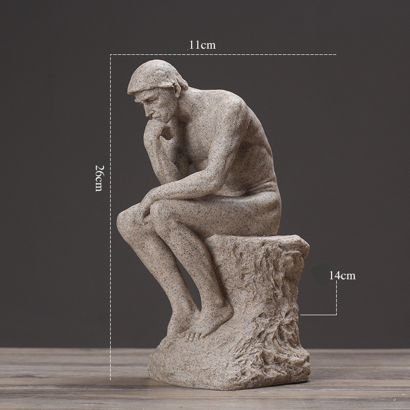 Retro Abstraction Auguste Rodin The Thinker Bust Statue Character Plaster Desktop Decoration Office Resin Craftwork L1933