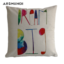 Vintage Letter Pillow Case English Words Linen Cushion cover living room bed sofa pillowcase Home textile for  drawing