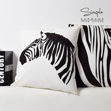 Zebra pillow cover, Black and white zebra creative animal Short plush throw pillow case pillowcase