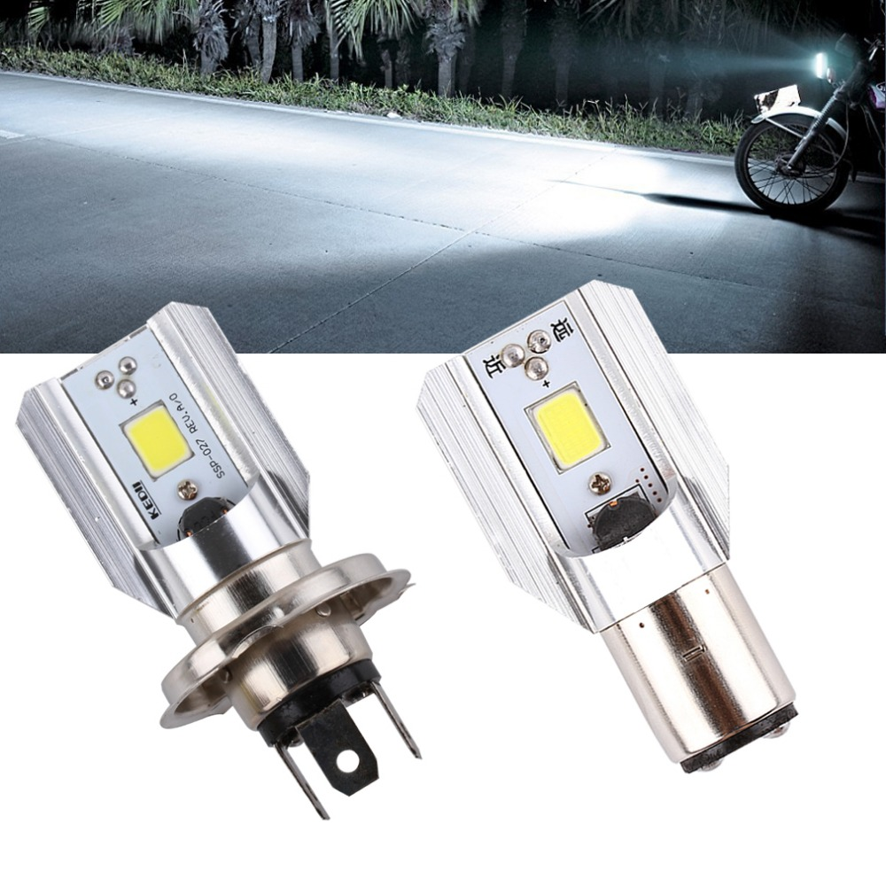 h4 h6 led motorcycle headlight bulbs cob led 1000lm ba20d hi lo lamp scooter atv moto. Black Bedroom Furniture Sets. Home Design Ideas