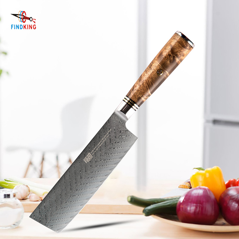 FINDKING AUS-10 damascus steel Sapele wood handle  arrow pattern damascus knife 6.5 inch chef knife 67 layers nakiri