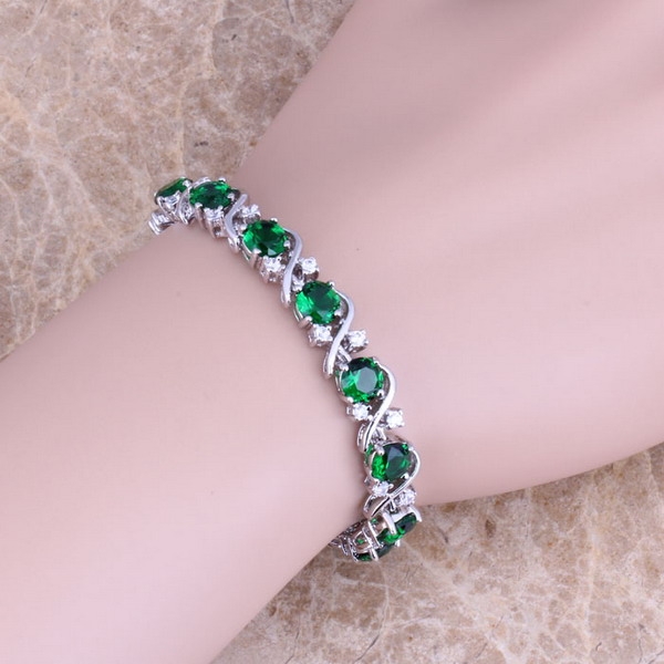 цена Green Cubic Zirconia White CZ 925 Sterling Silver Link Chain Bracelet 7 inch For Women S0264
