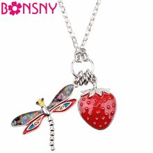 Bonsny Tropics Summer Collection Alloy Dragonfly Strawberry Insect Necklace Chain Enamel Jewelry Statement Pendant Charm NEW(China)