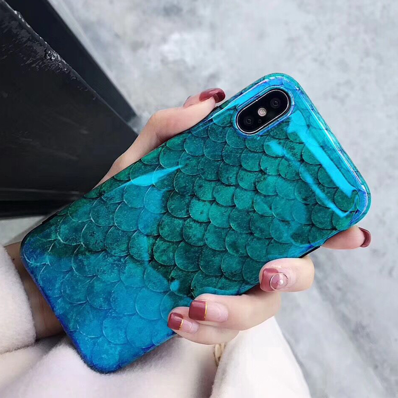 LOVECOM Blu-Ray Phone Case For iPhone 11 Pro Max XR XS Max X 8 7 6 6S Plus Laser Blue Fish Scale Soft IMD Phone Back Cover Cases