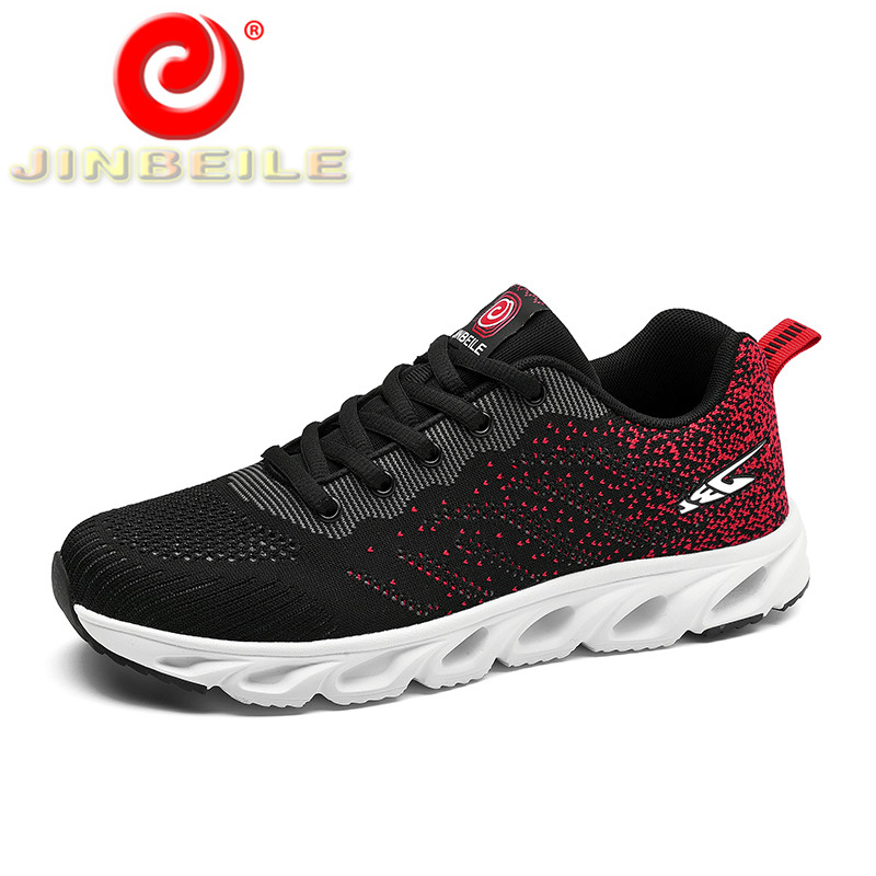 JINBEILE 2018 New Design Men Sport Shoes Outdoor Walking Sneakers Men Running Shoes With Hole Outsole Elasticity Men Sneakers