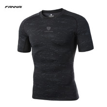 2019 New Brand Men Gym Running T Shirts Compression Short Sleeve Man Bodybuilding Training Tights Sport Shirt Jogging Spandex(China)