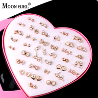 No Allergy 36 Pairs A Box Girls Stud Earrings 2016 Fashion Jewelry Display Plated Gold Plastic