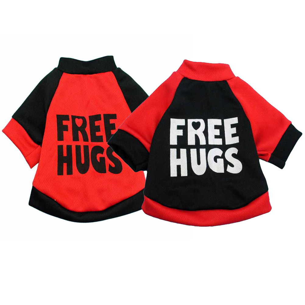 Puppy Dog Free Hugs Funny Letters Print T-Shirt Casual Pet Clothes Apparel Top