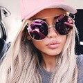 BOUTIQUE Rodada Mulheres Flat Top óculos de Sol Do Olho de Gato Óculos de Armação Das Mulheres Designer De Marca Dupla-Ponte H1646