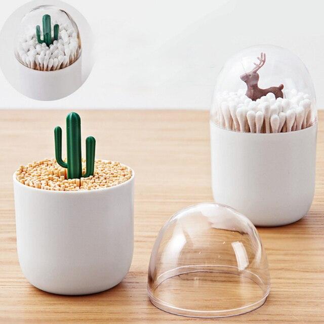LASPERAL Yaratıcı Lotus pamuklu çubuk saklama kutusu Pamuk Tutucu Kürdan Vaka Plastik Organizatör Mutfak Depolama Konteyner