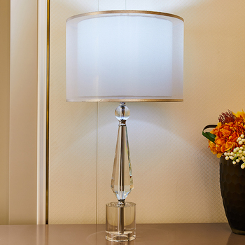 K9 Crystal Table Lamps Double Layer Lampshade Solid Cylinder Crystal Table Lamps Bedside For Bedroom For Living Room Home Decor