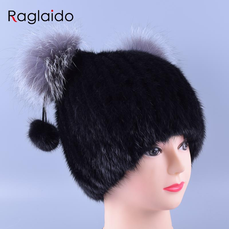 2016 Knitted Mink Fur Hats with Fox Ears Decoration Ball Women Beanie Real Fur Winter Hats Natural Solid Pompom Caps LQ11151
