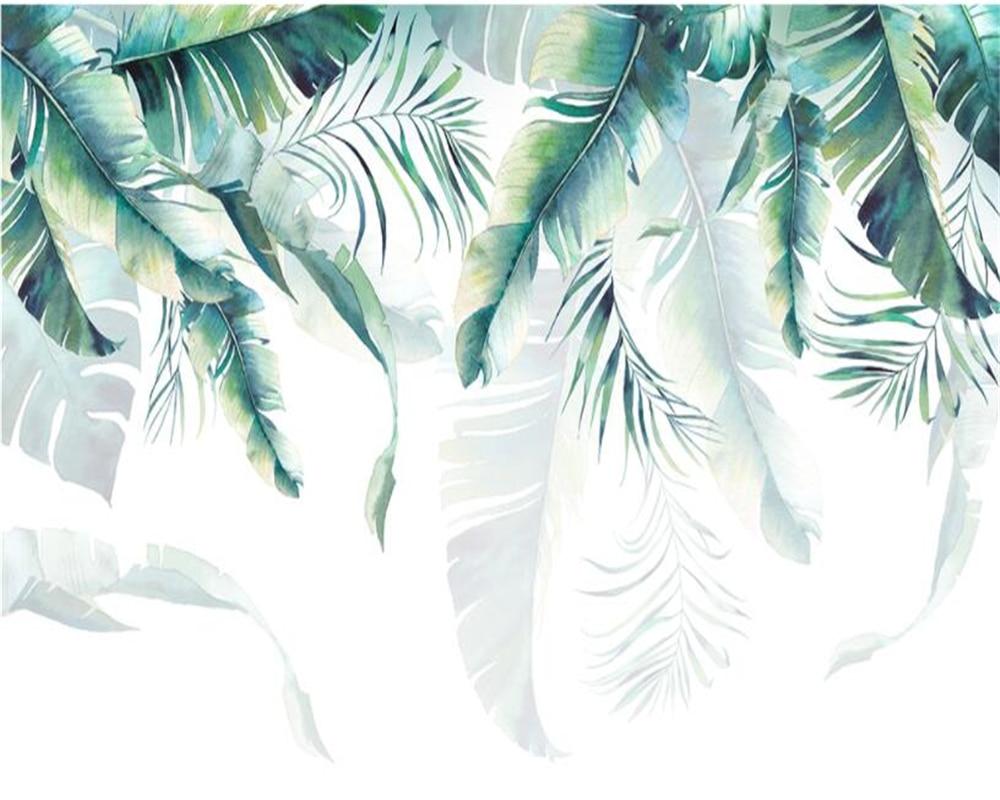 Купить с кэшбэком Beibehang Custom Photo Wallpaper Retro Tropical Rain Forest Palm Banana Leaves Wall Mural Cafe Restaurant Backdrop 3d wallpaper