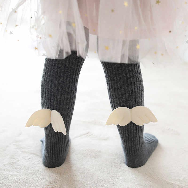 Осенние детские колготки для девочек 3D с крыльями, хлопковая Футболка с цветочным принтом, колготки, бархатные чулки для девочек одежда для малышей Милая Гольфы для девочек D1012