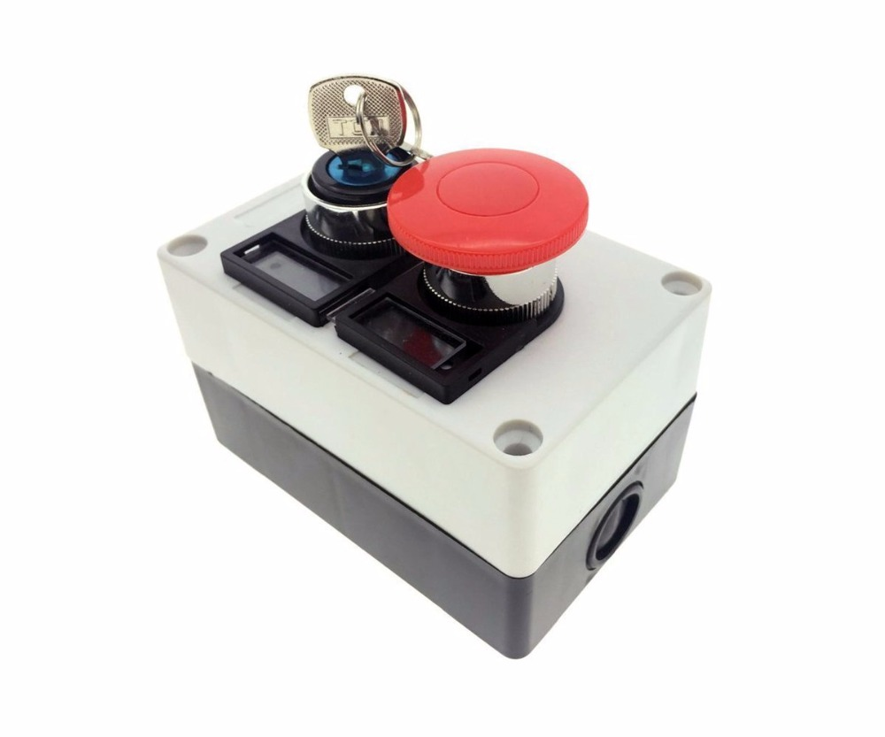 Push Button Station, 660V 10A 2 Position On/Off Momentary Switch Key Lock 40mm Red Mushroom Cap 16mm 3 position key switch 2no 2nc key lock push button switch 5a 250v ip65