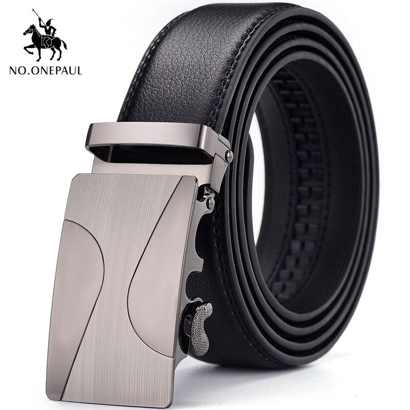 NO.ONEPAUL Men's Belt Design New Automatic Buckle Metal Smooth Surface Men's Brand Black Belt 3.5 Cm Wide Business Fashion Belt