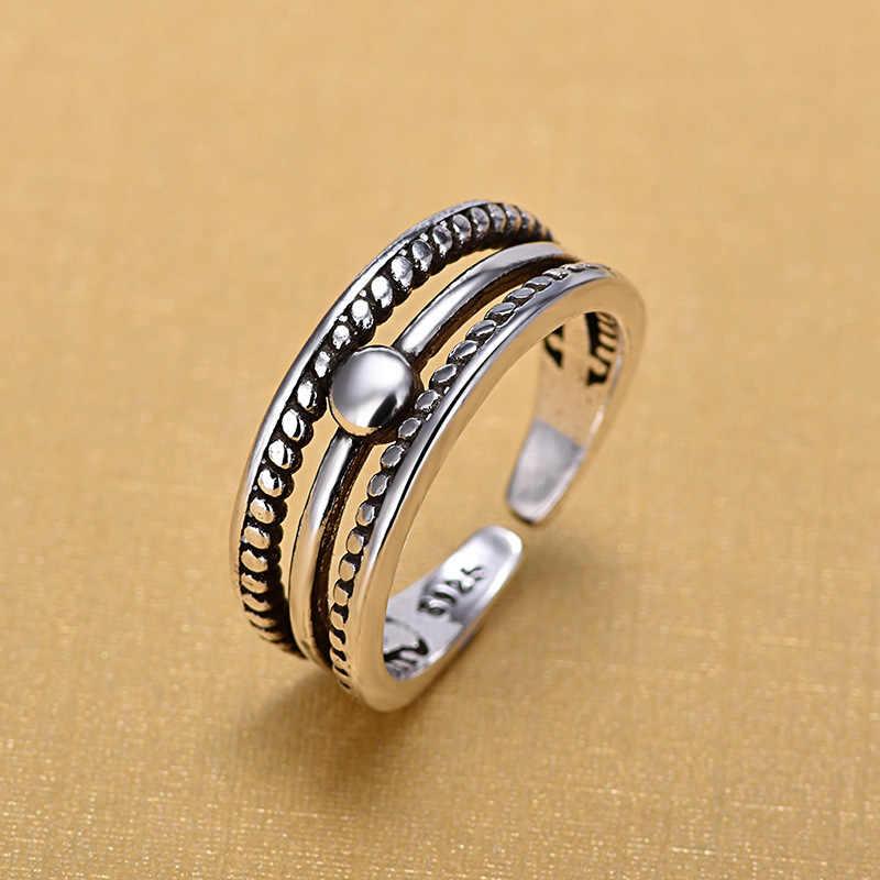 ريترو خمر 925 فضة اليد المفتوحة فنجر خواتم مفتوحة للنساء الاسترليني والفضة والمجوهرات