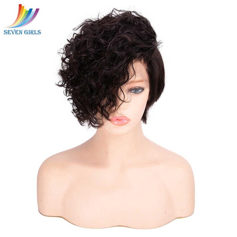 Sevengirls безклеевой натуральный волна короткие парики малазийский натуральный цвет 8-18 дюймовые натуральные волосы полный кружево человеческие волосы парики Бесплатная доставка
