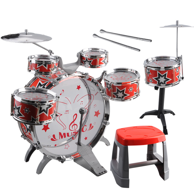 1 Set Kids Drum Kit Musical Band Playset Chair Cymbal Children Kids font b Toy b