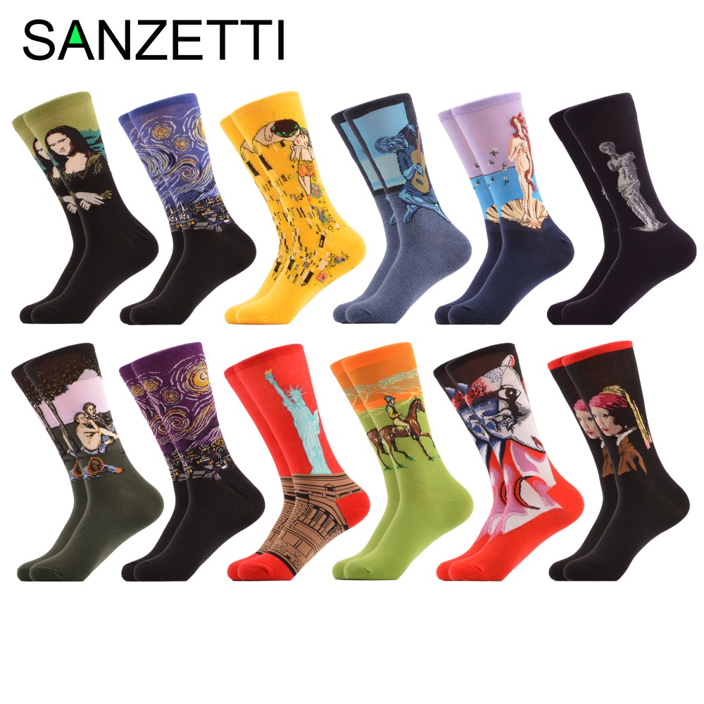 SANZETTI 12 pairs/lot Colorful Mens Funny Cotton Socks Famous Retro Painting Starry Sky Pattern Casual Novelty Crew Street wear