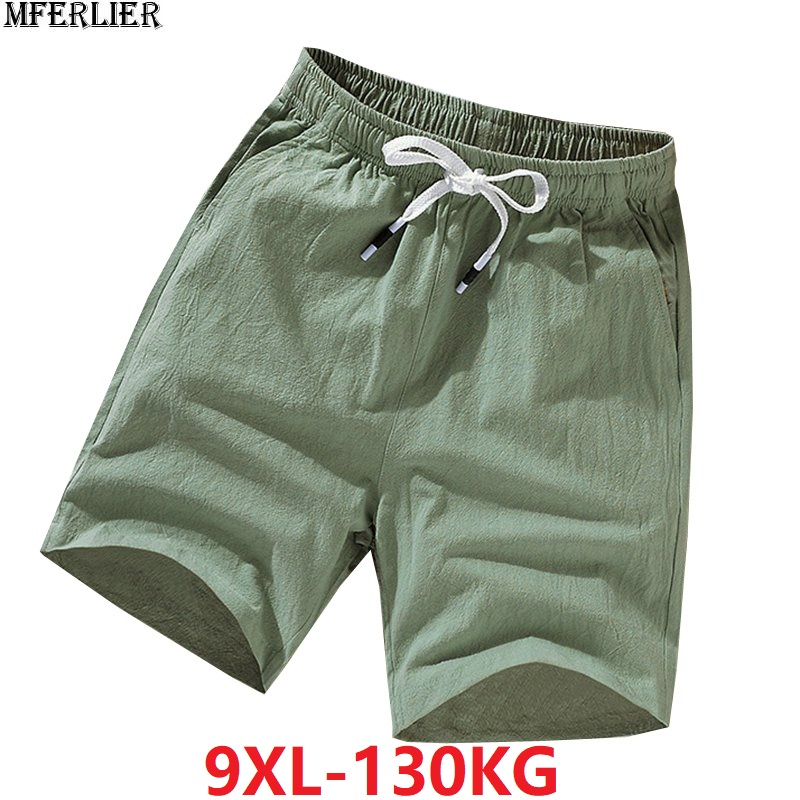 Summer Men Linen Cotton Shorts Chinese Style Plus Size Big 6XL 7XL 8XL 9XL Shorts Casual Men Home Stretch Shorts Green Orange 48