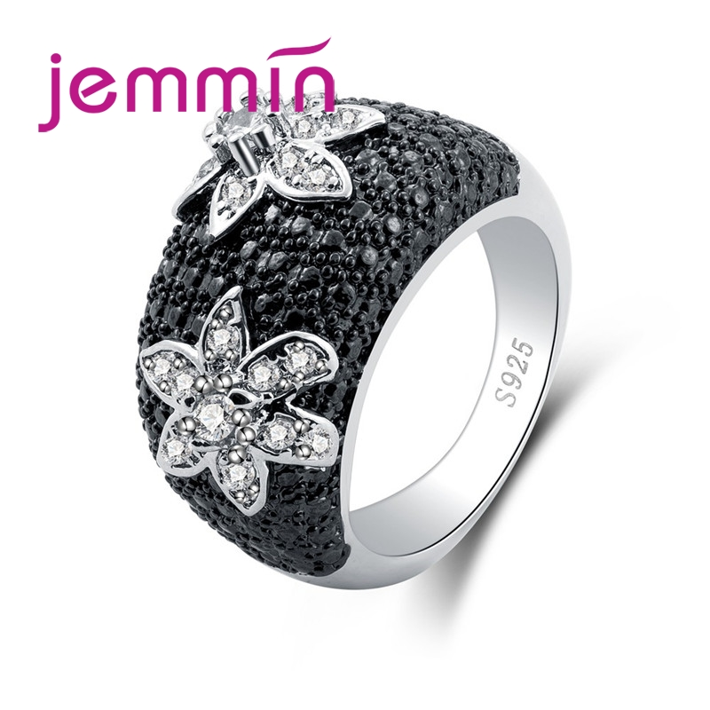 European Style Classic Flower Full Setting Black& White CZ 925 Sterling Silver Ring For Women Mens Jewelry Party Gift
