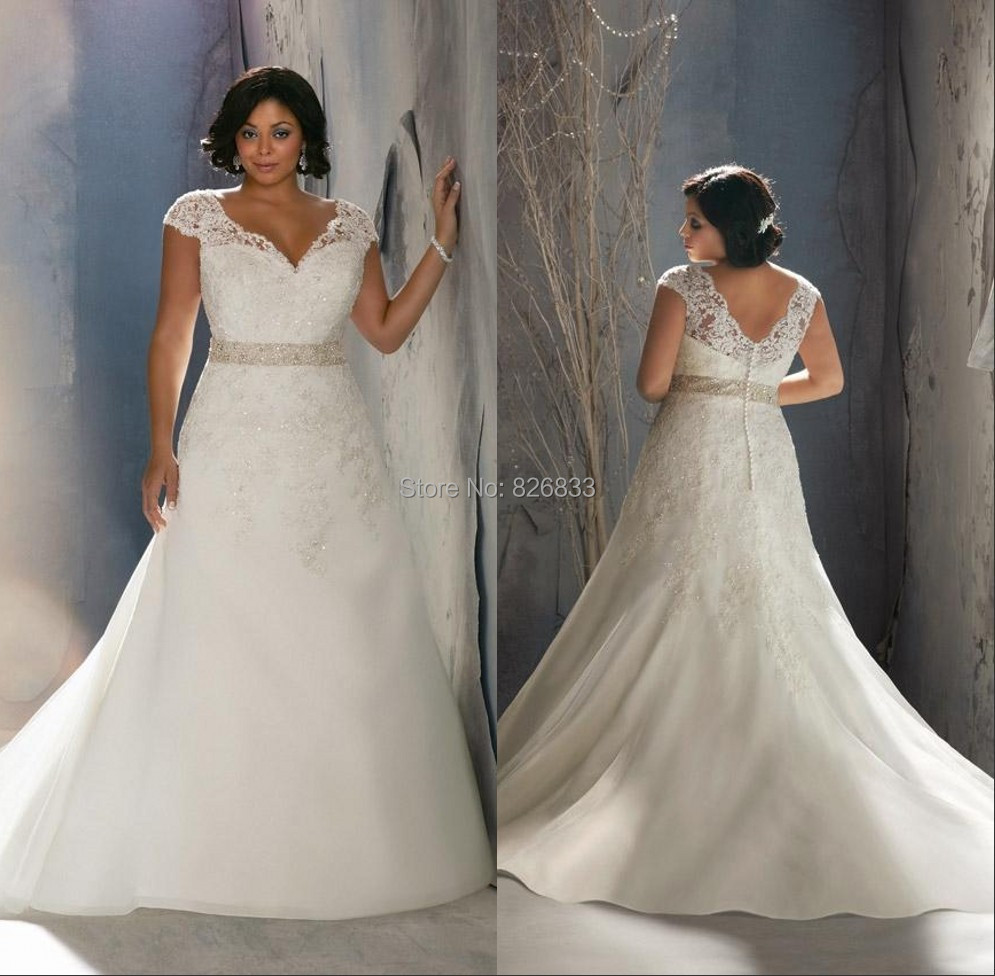 Aliexpress.com : Buy Cap Sleeves V neck Lace Mermaid Wedding Dress ...