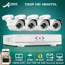 ANRAN HD 4CH CCTV System 720P HDMI DVR 4PCS 1.0MP 1800TVL IR Outdoor Video Surveillance Security Camera System 4CH AHD DVR Kit