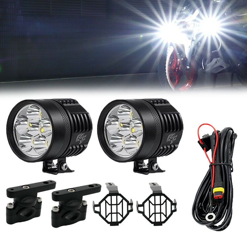 2Pcs 6 LED Motorcycle Light Headlight Assembly Universal Scooter Fog Spotlight Relay Wire Protector Covers Motorbike Led Lights