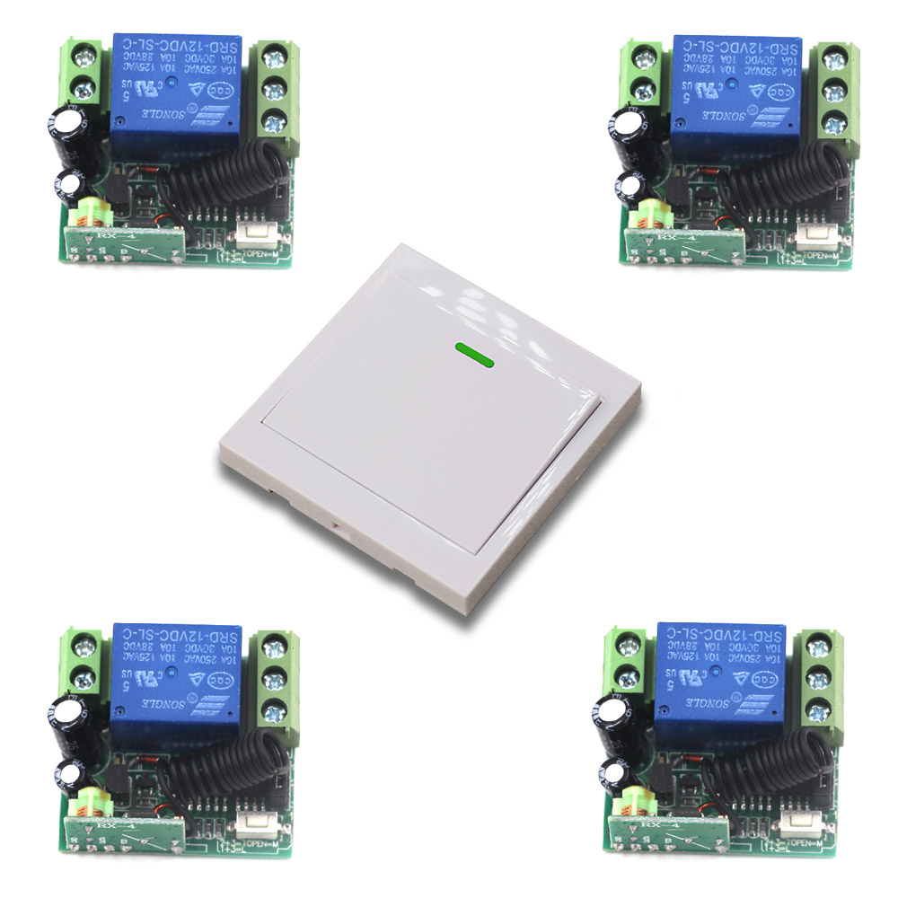 DC 12V Wireless Light Switch System Remote Control Switch 1CH 10A Receiver Mini Relay Module Wall Transmitter 315Mhz/433Mhz wireless pager system 433 92mhz wireless restaurant table buzzer with monitor and watch receiver 3 display 42 call button