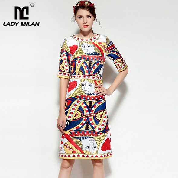 New Arrival Womens O Neck Short Sleeves Characters Printed Dobby Beaded Fashion Dresses